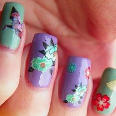 Get a fun and floral manicure with just a few simple products. This nail art design can be created with super easy to use floral print decals. Click for all the nail art essentials you need.