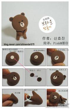 DIY Tutorial Polymer Clay - Cute Brown Bear LINE Character