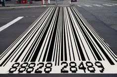 Crosswalk Suggestion for Seattle, Washington:  Bar codes already look a bit like crosswalks. This could be a good fit in South Lake Union, where Amazon's headquarters are located.  - image by KUOW photo illustration/Gil Aegerter