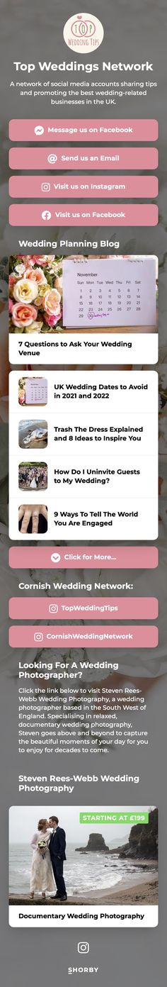 A network of social media accounts sharing tips and promoting the best wedding-related businesses in the UK. #pinterestinspired #wedding #event #weddinginspiration Cornish Wedding, Wedding Venues Uk, About Uk, Wedding Planning, Wedding Inspiration, Social Media, Trends, How To Plan, Link