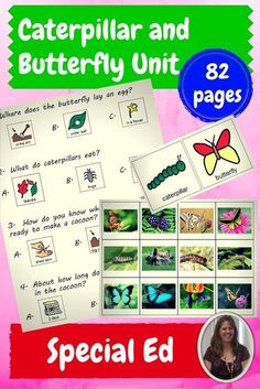 Caterpillar and Butterfly Unit for Special Education, especially students with autism.  Includes:  Vocabulary board •Power point with video clips  •Circle maps •Sorting activity •Calendar to track the development and growth of your caterpillars •Activities to review life cycles •Venn diagram •Coloring booklet •Assessment •Social story on change  Download at:  https://www.teacherspayteachers.com/Product/Butterfly-Lifecycle-Unit-for-Special-Education-1806041