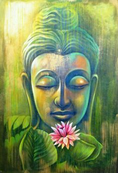Buy Green Buddha with Pink Lotus by Community Artists Group@ Rs. - Shop Art Paintings online in India. Buddhist Meditation, Meditation Art, Buddhist Art, Buddhist Teachings, Budha Painting, Ganesha Painting, Buddha Zen, Buddha Buddhism, Buddha Lotus