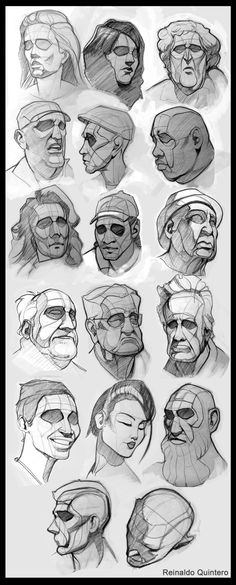 Excellent slightly cartoonish structural drawings of faces to use as reference. Note: artist merges heads into necks very believably.