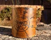 Vintage style compass rose travel cuff hand carved in distressed