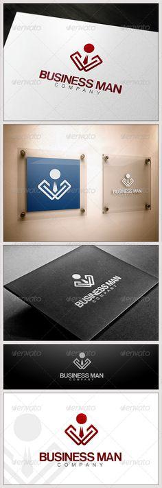 Business Man Logo Design Template Vector #logotype Download it here: http://graphicriver.net/item/business-man-logo/3650339?s_rank=391?ref=nexion