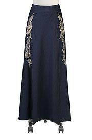 Art deco linen long skirt