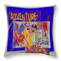 "Adventure Throw Pillow for Sale by Janis Kirstein  ||  Adventure Throw Pillow by Janis Kirstein.  Our throw pillows are made from 100% spun polyester poplin fabric and add a stylish statement to any room.  Pillows are available in sizes from 14"" x 14"" up to 26"" x 26"".  Each pillow is printed on both sides (same image) and includes a concealed zipper and removable insert (if selected) for easy cleaning…"