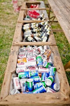 Are a full-on bar and bartender out of a budget? Fill up a trough with the drinks of your choice. Fun and quirky, it lends rustic charm to any backyard or barn wedding. #weddings #wedding #marriage #weddingdress #weddinggown #ballgowns #ladies #woman #women #beautifuldress #newlyweds #proposal #shopping #engagement