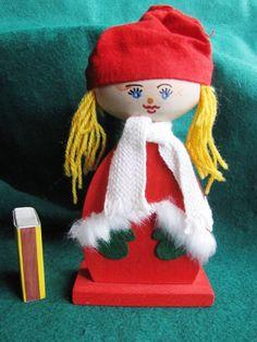 Vintage Swedish Wood Christmas Gift Doll Elf Gnome Santa Tomte Sweden Figure