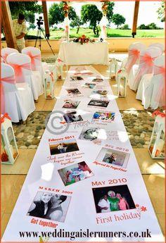 Beautiful 'Love Story Timeline' wedding aisle runner personalised with photos, dates & captions. www.weddingaislerunners.co.uk