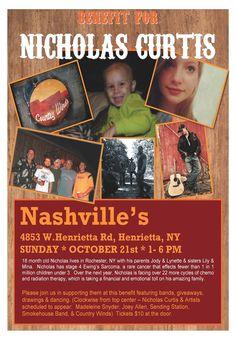 Country4aCause - Benefit for Nicholas Curtis 3pm Nashville's Henriettta, NY