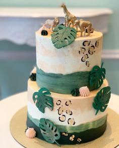 Safari Birthday Cakes, Jungle Theme Cakes, 2nd Birthday Party For Girl, Jungle Theme Birthday, Safari Cakes, Safari Baby Shower Cake, Gateau Baby Shower, Deco Baby Shower, Cheetah Cakes