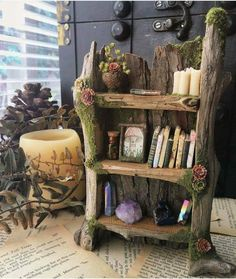 Faery Bookshelf - miniature fairy bookshelf, fairy furniture, handmade and one of a kind by thefaeryforest Fairy Room, Diy Home Decor, Room Decor, Deco Originale, Fairy Furniture, Creation Deco, Fairy Houses, Faeries, Wood Crafts