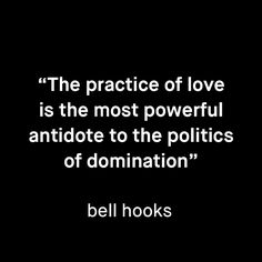 The practice of love is the most poweful antidote to the politics of domination - bell hooks