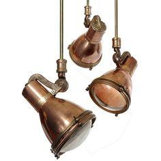 Pair of Early Spun Copper and Cast Brass Mini Spot Lights | From a unique collection of antique and modern chandeliers and pendants  at http://www.1stdibs.com/furniture/lighting/chandeliers-pendant-lights/