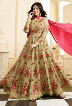 4ad49e02f75 Semi Stitched Beige Georgette Anarkali Style Salwar Kameez