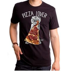 Pizza Lover GT6243-101BLK Men's T-shirt. Pizza cats by GoodieTees