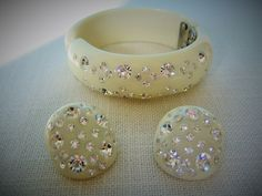 WEISS RHINESTONE BRACELET w Earrings Clamper Bangle w Clear Swarovski Crystals Vintage Collectible Designer Costume Jewelry Demi Parure by pegi16 on Etsy $209.99