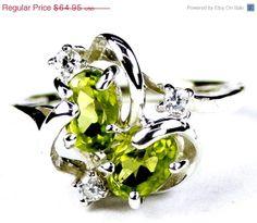 Green Amethyst aka Peridot. So pretty!  Valentines Sale 30% off, SR016, Peridot, 925 Sterling Silver Ring