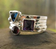 030d527258e5 Wild Berries Skinny Ring Stack . set of 5 sterling by bddesigns Anillos De  Oro
