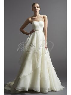 RK Bridal: Classic washed silk organza, full A-line gown with modified sweetheart neckline. Features a soft tiered skirt and double-faced satin ribbon ...