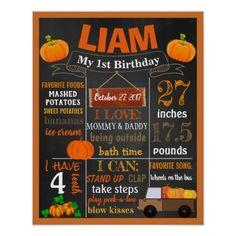 Pumpkin Birthday Party chalkboard sign Halloween First Birthday, Boys First Birthday Party Ideas, Birthday Themes For Boys, 1st Boy Birthday, Boy Birthday Parties, October Birthday, Pumpkin Patch Birthday, Pumpkin Patch Party, Pumpkin Birthday Parties