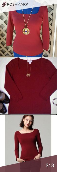 LOFT burgundy square neck knit top Ann Taylor LOFT Rich cranberry/wine color knit top with square neckline and 3/4 length sleeves.  One of the season's hottest colors. Great by itself with a pair of jeans or layer over a button down shirt. Like new condition. Armpit to armpit: 16 inches (before stretch) LOFT? Please check out my closet for more. Last pic is style inspiration from anniebeebuzz.com. All of my items come from a smoke-free, pet-free home. LOFT Tops