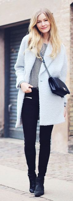 Light Blue Coat Outfit Idea