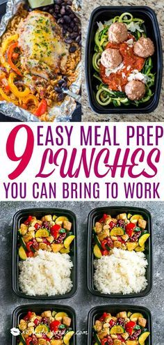 9 Easy Meal Prep Lunches You Can Bring to Work These meal prep lunch recipes are perfect to bring to work Meal prepping is a great way to plan for the busy week ahead Th. Meal Prep For Work, Easy Meal Prep Lunches, Paleo Meal Prep, Work Meals, Prepped Lunches, Meal Prep For The Week, Make Ahead Meals, Easy Meals, Paleo Meals