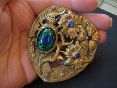 Rare Egyptian Revival Czech Empire Bronze Peacock Eye Scarab Beetle Large Brooch or Sash Pin