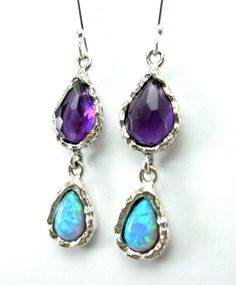 Ahhh simple and beautiful. Amethyst & Opal Earrings - beautiful gemstones jewelry that would make the perfect gift for anyone - specially yourself!