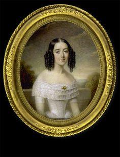 Pierre Daubigny    Lady in White Dress in front of Landscape    1846