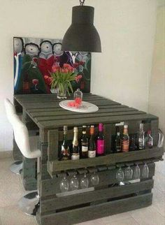 Breakfast table with glass and wine storage