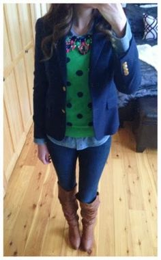J Crew has great, chic layering pieces for the Fall. Navy blazer, chambray shirt, and polka dot sweater - love!