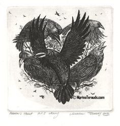 Raven's Heart by Marina Terauds. Etching