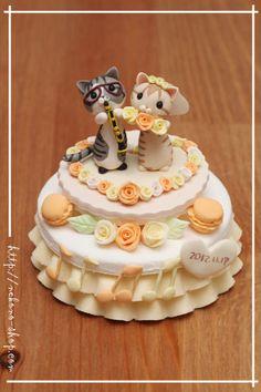 新作『音符とクラリネット入り ウェディングケーキに乗ったnekono』 の画像|クレイアートでつくる猫 nekonoのブログ