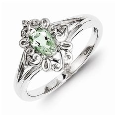 Sterling Silver Green Amethyst Diamond Ring. Can someone buy me this please