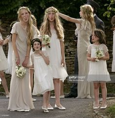 Bridesmaids at the wedding of Kate Moss and Jamie Hince at St. Peter's Church on July 1, 2011 in Abingdon, England.