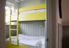 funky bunk beds - luminous yellow paint!