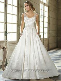 Ball Gown Spaghetti Straps Satin Floor-length Ivory Beading Wedding Dresses -$266.29
