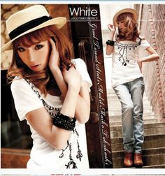 Korean Style Necklace Printed Cotton T-shirt White - $16.00