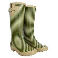 Tan Stripe Women's Gumboots