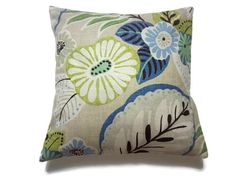 Decorative Pillow Cover Blue Chartreuse Brown by LynnesThisandThat (Home & Living, Home Décor, Decorative Pillows, pillow covers, chartreuse, mint green, modern floral, throw pillow covers, toss pillow covers, cushion covers, accent pillow covers, blue and brown, decorative floral, lynnesthisandthat, handmade, decorative pillow)