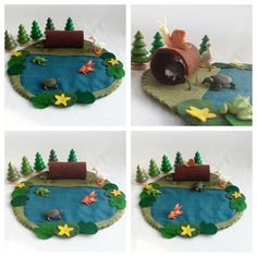 Frog Pond Playscape Play Mat - wool felt - pretend play storytelling unisex - lily pads hollow log woodland - make believe child toy by MyBigWorld2015 on Etsy