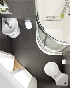 Tiny walk-in shower and bathroom