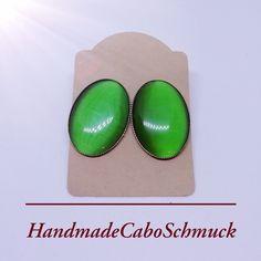 Edelstahl Cabochon Ohrringe Ohrstecker, 18x25mm, Cateye grün