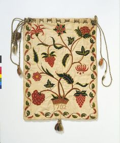 "1701-1702 British Workbag at the Victoria and Albert Museum, London - From the curators' comments: ""Capacious work bags were an important domestic accessory in the eighteenth century, and their decoration and scale reflected changing fashions in needlework...Work bags tended to be large so as to contain the substantial hanks of coloured worsted wool used for crewelwork, and made of linen or cotton."""