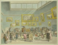 Christies, King Street, Interior showing an auction in progress 1808.   The auctioneer, a handsome fair man, gestures to a picture of a female nude being held by a clerk/assistant. Seems fairly explicit -- there's a dark spot for her pubic hair. On the walls around are more portraits vaguely rendered. The benches are packed with fashionable looking folk, both young and old, some watching auction, some facing away. A couple flirts. Other people stand and examine the paintings.