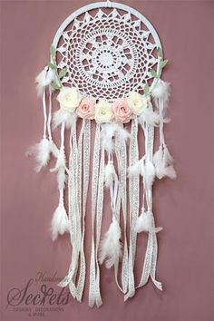 Dream Catcher Crochet Dream Catcher Dreamcatcher Dreamcather With Flowers Baby Shower Gift Nurs Lace Dream Catchers, Dream Catcher Art, Magic Crafts, Diy Crafts, Lace Umbrella, Indoor Crafts, Indian Arts And Crafts, Crochet Dreamcatcher, Rainbow Magic