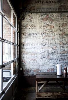 Butcher shop feature wall illustrations